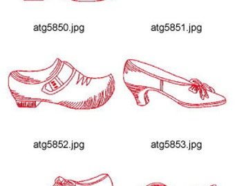 Redwork-Shoes ( 9 Machine Embroidery Designs from ATW ) XYZ17E