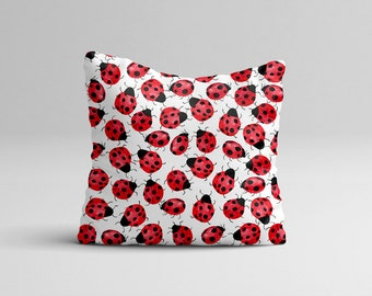 Lady Bug Pillow Case - Nursery Pillow Cover - Watercolor Throw Pillow Cover - Baby Lady Bug Birthday - Watercolor Pillow Case 16x16 | 20x20