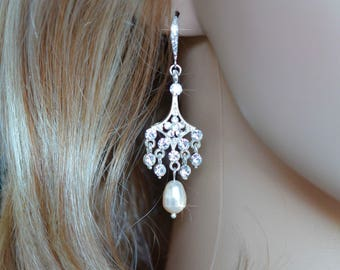 Handmade Vintage Inspired Crystal Rhinestone and Pearl Chandelier Earrings, Wedding, Bridal (Pearl-145)