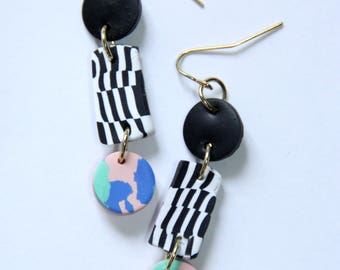 Polymer Clay Chandelier Earrings 80s Blue Green Pink Checkered Black and White
