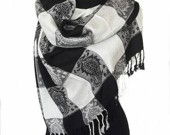 White Black Pashmina Scarf Square Print Scarf Black Pashmina Scarf Oversize Shawl Wrap Scarf Turkish Authentic