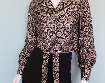 70s Black and Gold Cropped Jacket, Gold Shine Disco Top, Tie Front Lame Blouse, Small/Medium