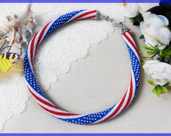 4th July Independence day America statement necklace USA Beaded crochet necklace White and Blue necklace American flag necklace Women day