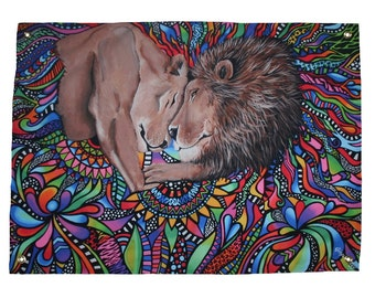 Lion Tapestry - Wall Tapestry - Flag