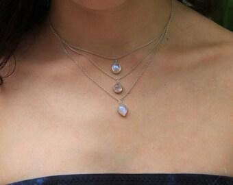 Alaya Necklace, Multi-strand necklace, Silver necklace, Moonstone Necklace, Delicate necklace, Bohemian necklace, Gypsy necklace