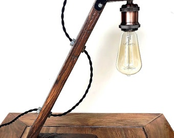 Lamp industrielle_Bois_Indusrial floor lamp_wood light_pallet_Edison_Floor lamp_Steampunk WORKER