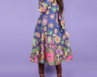 Psychedelic 70s Vintage Floral Dress
