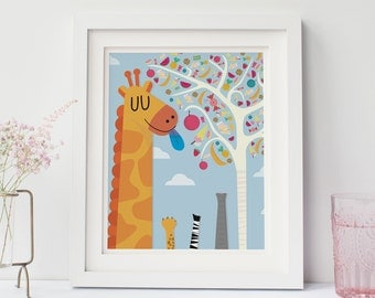 "Giraffe Candy Tree Print 8"" x 10"", Nursery Print, Nursery Decor"