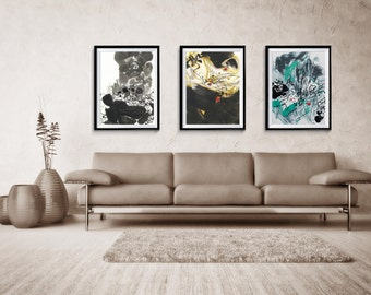 Abstract Print Set of three, Abstract, Giclee Print, Blue Abstract, Large Abstract Print, home decor, wall print, ZDQ303392