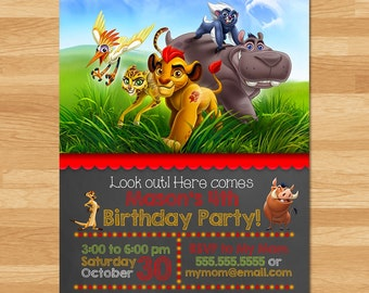 The Lion Guard Invitation - Chalkboard - Lion Guard Invite - Lion Guard Printables - Lion Guard Birthday Party Favors - Lion Guard Printable