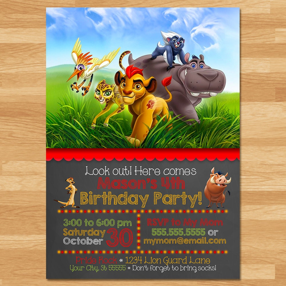 The Lion Guard Invitation Chalkboard Lion Guard Invite – Lion Birthday Invitations