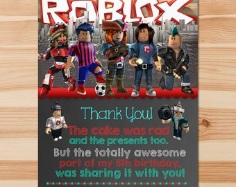 Roblox Thank You Card - Chalkboard - Roblox Thanks - Roblox Party - Roblox Printables - Roblox Birthday Party Favors - Printable Thank You