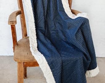 Chambray Throw Blanket, Blue, Throw Blanket, Blanket, Linen, Faux Fur Blanket, Dots, Dot Blanket, Chambray Blanket,