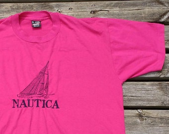 Vintage 90's Nautica Boat Embroidered Pink Purple Made in USA Fruit of the Loom XL