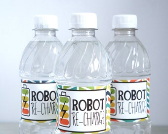 Robot Water Bottle Labels, Personalized Water Bottle Labels, Water Resistant Labels, Robot Birthday Party, Water Bottle Labels- SET OF 12+