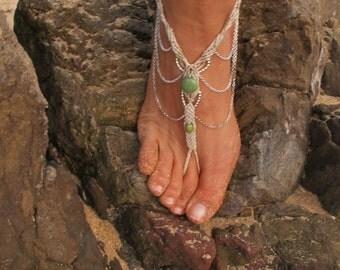 Barefoot sandal, macrame, precious stones, boho, summer, beach, ankle, foot, bohemian, body jewelry, belly dance bracelet
