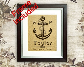 Wedding anchor Wedding frame Wedding Shower Gifts for Bride Personalized Wedding gift for couple Bridal Shower Gift for bride and groom