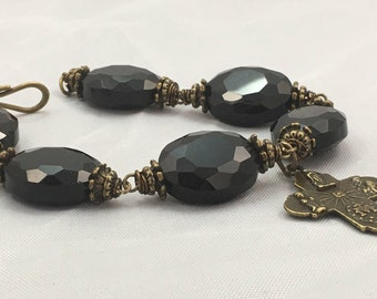 Large Faceted Crystal Beaded Bracelet, Religious Cross Bracelet, Catholic Bracelet, Religious Jewelry