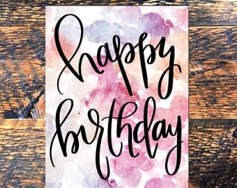 Happy Birthday Printable Card, Inspirational Print, Typography Quote, Wall Decor, digital download