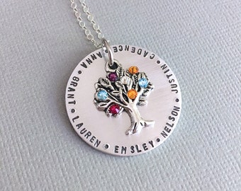 Custom Grandma or Mother Necklace, Family Tree, Birthstone Necklace, Big Family, Mother's Day, Nana Necklace, Gift To Mom, Name Necklace