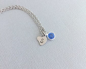Personalized Small Heart Necklace, Little Girl Necklace, Birthstone Necklace, Birthday Gift, Minimalist Necklace, Initial Necklace, Sister