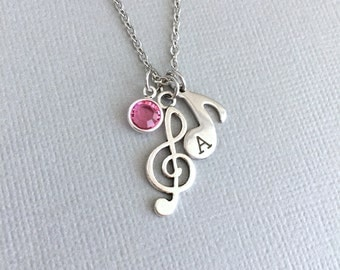 Hand Stamped Treble Clef Necklace, Musical Note, Musician Necklace, Little Girl, Birthstone Necklace, Music Charm, Singer Necklace