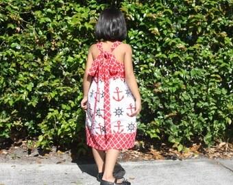 Girls Nautical Dress, Baby Nautical Dress, Girls Cotton Dress, Girls summer Dress, Girls Spring Dress