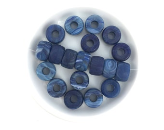 20pc 6x9 Czech Glass Pony Bead Blue Swirl-Crow Bead-Big Hole Bead #3719C