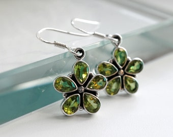 Natural Peridot Earrings, August Birthstone, Green Earrings, Green Gemstone Earrings, Peridot Jewelry, Floral Earrings, Statement Earrings