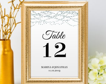 Printable Silver Foil Look Table Number Name Card Signs, Editable PDF, Instant Download