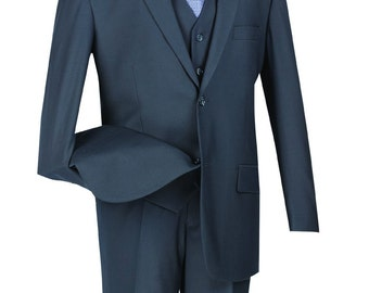 Classic-fit men's suit 3 piece suit 2 bottons solid navy suits new with tag