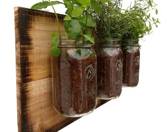 Rustic Herb Planter   Hanging Planter Indoor Herb Garden Vertical Planter  Vertical Garden Indoor Wall Planter