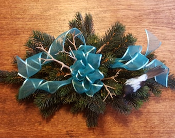 Christmas Centerpiece Elegant Teal Theme with Stylized Bluebird Sheer Ribbon Faux Deer Antlers Low Non Obtrusive Floral Decor Free Shipping