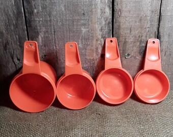 Set of 4 Tupperware Measuring Cups - 1960's, Mid Century - Bright Orange - - Retro Set