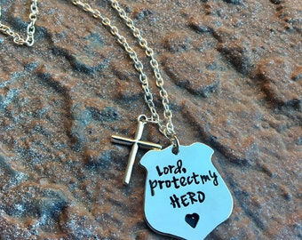 Police wife necklace; Police mom necklace