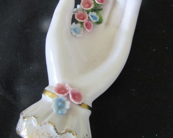 Vintage Lefton Hand Painted Hand with Pink and Blue Flowers   422