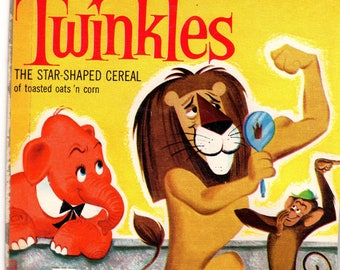 1960's Twinkles General Mills Cereal Box Book Twinkles and the Lion who Loved