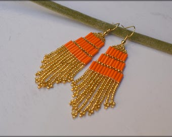 Orange gold Fringe Earrings | Beaded Earrings Seed bead Earrings | Gift for her | Nickel free | Spring Jewelry| Orange Gold Earrings |