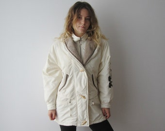Vintage Women's Parka Coat Rene Derhy Winter Jacket Medium Size Ivory White  Jacket Long Winter Jacket Soft Winter Coat