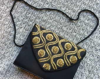 Vintage Gold and Black 60's Silk Beaded Evening Purse