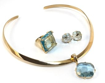 Aquamarine in 18k gold filled jewelry set - Ring size 6