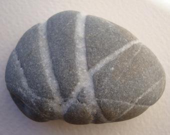 Sea stone with white veins-Sea pebble-Multi striped stone-Home decor-decorative stone