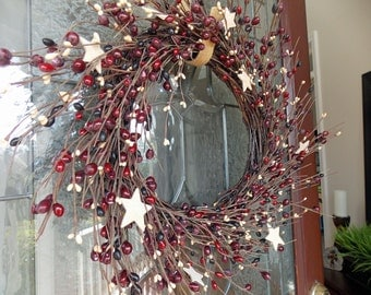 Primitive Wreath-Christmas Wreath-Rustic Wreath-Pip Berry Wreath-Star Wreath-Christmas Wreaths for Front Door-Summer Wreaths for Front Door