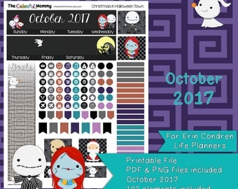 Christmas in Halloween Town OCTOBER 2017 Monthly Planner Sticker Kit | use with Erin Condren Planner | Nightmare | Printable | PDF
