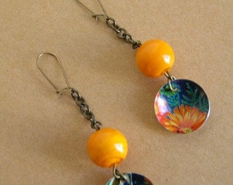 Recycled Art Vintage Orange Domed Tin Earrings