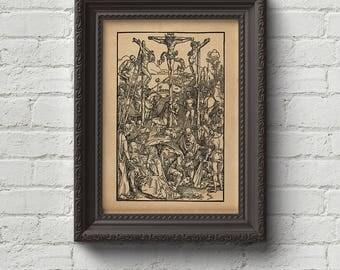 Mount Calvary - Albrecht Durer Print, Wall Art, Woodcut, Engraving, Religion, Christ, Cross, God, Art, Dore, Dürer, Cute Gift
