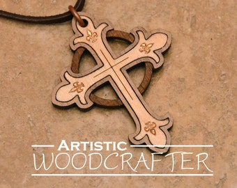 Wooden Cross Necklace (Maple/Walnut)