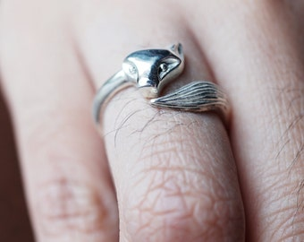 Fox Ring , Adjustable Ring, Sterling Silver 925 ,Sterling Silver Fox Ring ,Wrap Around Fox Ring ,Nature Ring