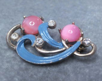 Vintage Abstract Swirl Cabochon Rhinestone Brooch Pin Pink Blue Enamel Clear Silver Tone Floral 1940s Poured Glass Pastel Pot Metal (D773)
