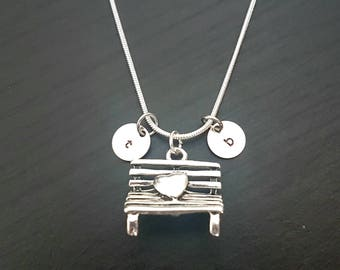 Bench Heart Decorated with Initial Stamped DIscs on Sterling Silver Snake Necklace